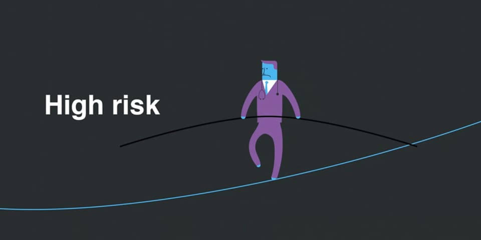 Still from animation of a character balancing on a tight rope.