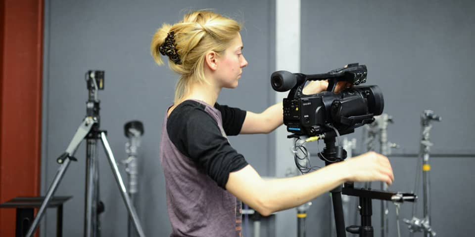 Student filming in the TV Studio at London College of Communication