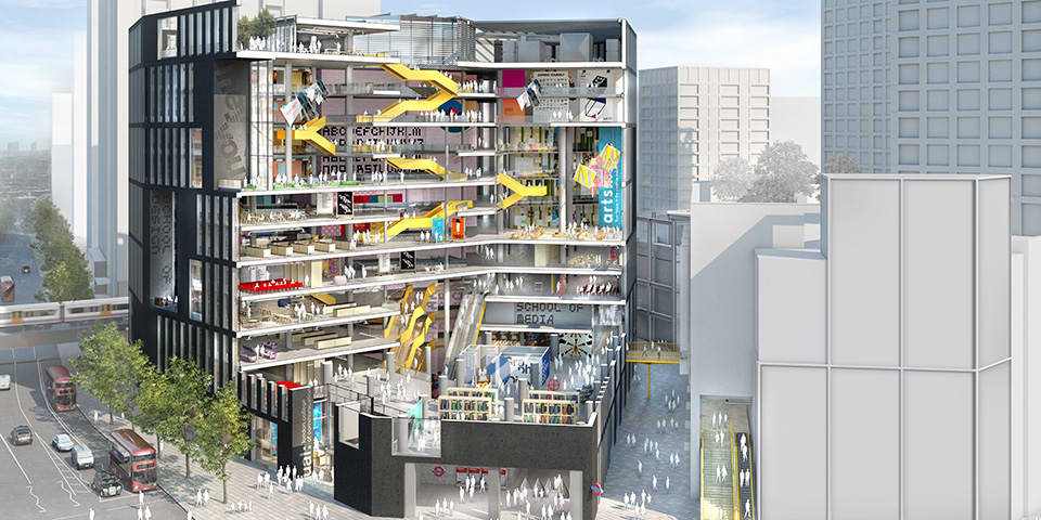 Visualisations of the new LCC building by architects and urban planners Allies and Morrison.