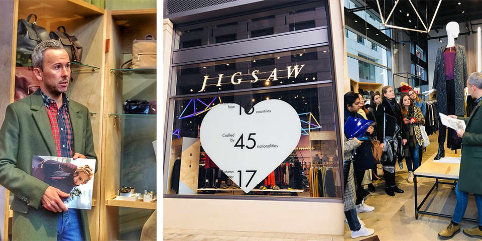 Students in store at Jigsaw, and talking to Matthew Moore, Creative Group Head.