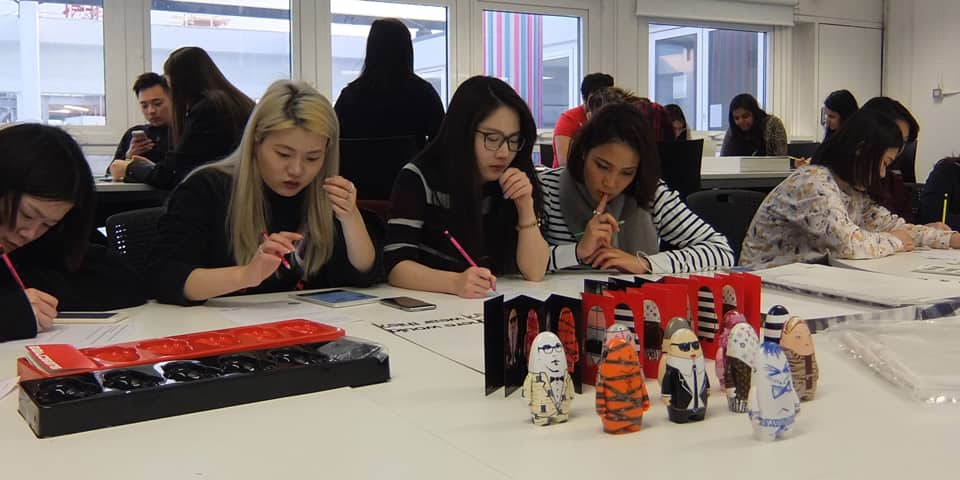 Grad Dip students class of 2015/16 in an afternoon workshop facilitated by LCF Library showing our extensive collection of Visionaire.