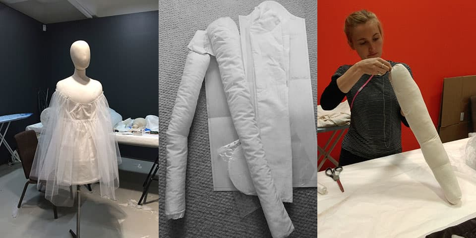 MA Fashion Curation Students working on mounting mannequins for The Vulgar exhibition, 2016.