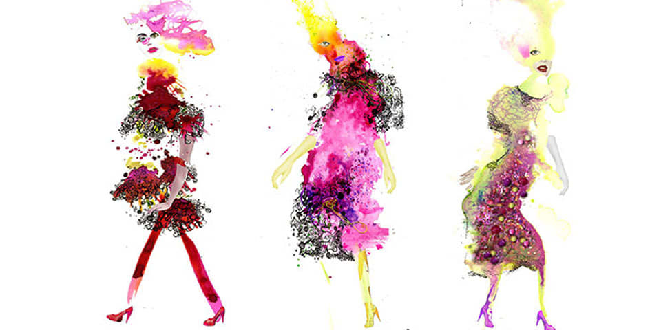 Illustration of three women dressed in pink. Fashion psychology course