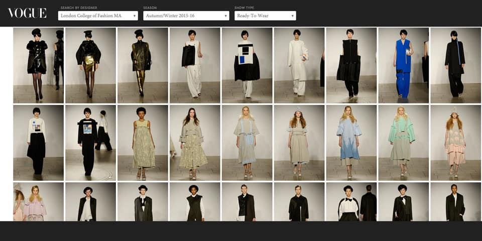 Screenshot of the MA15 catwalk gallery on Vogue.com