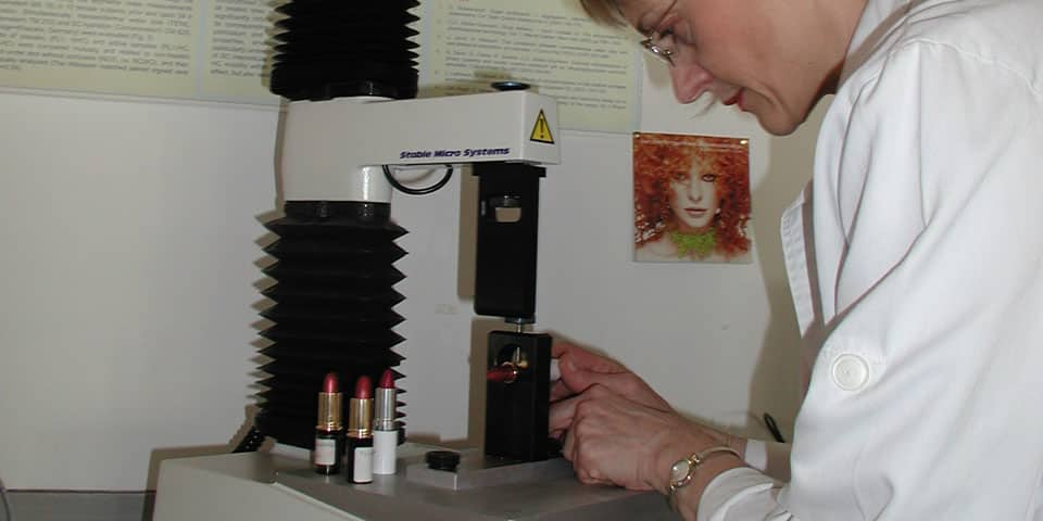 msc cosmetic science student with lipsticks, 2015