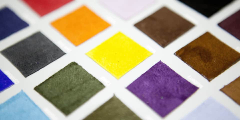 Colour swatches on understanding leather