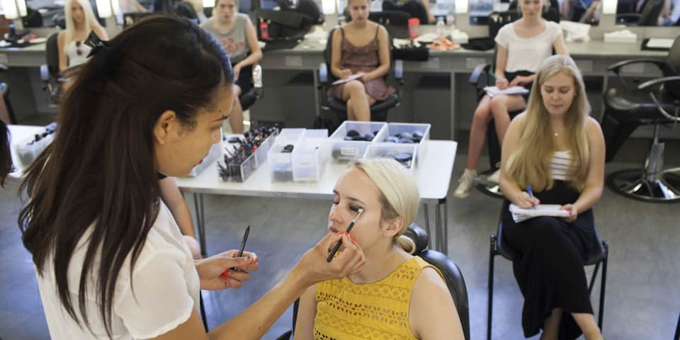 Students on makeup artist course for 16-18 year olds