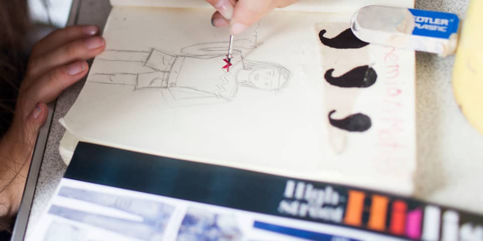 Fashion Portfolio Preparation for 16-18 Year Olds: student works on illustration
