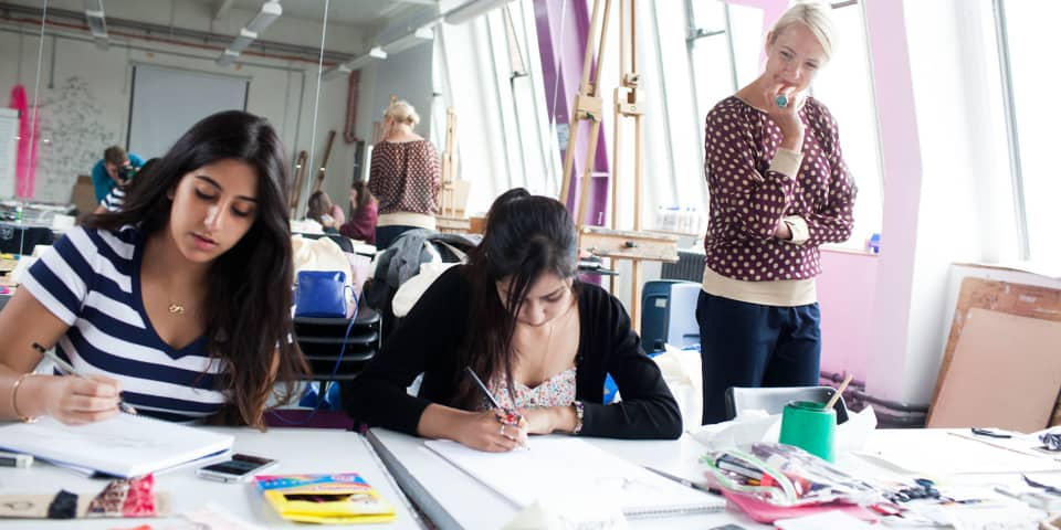 Students and tutor on fashion portfolio preparation course