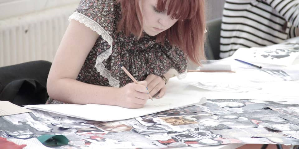 Fashion Portfolio Preparation for 16-18 Year Olds: student in class