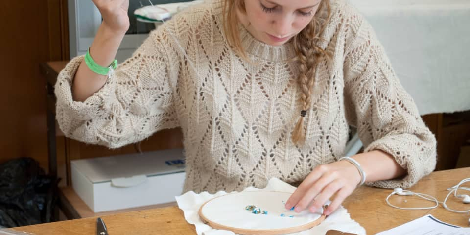 Fashion Design & Making: Student works on embellishment