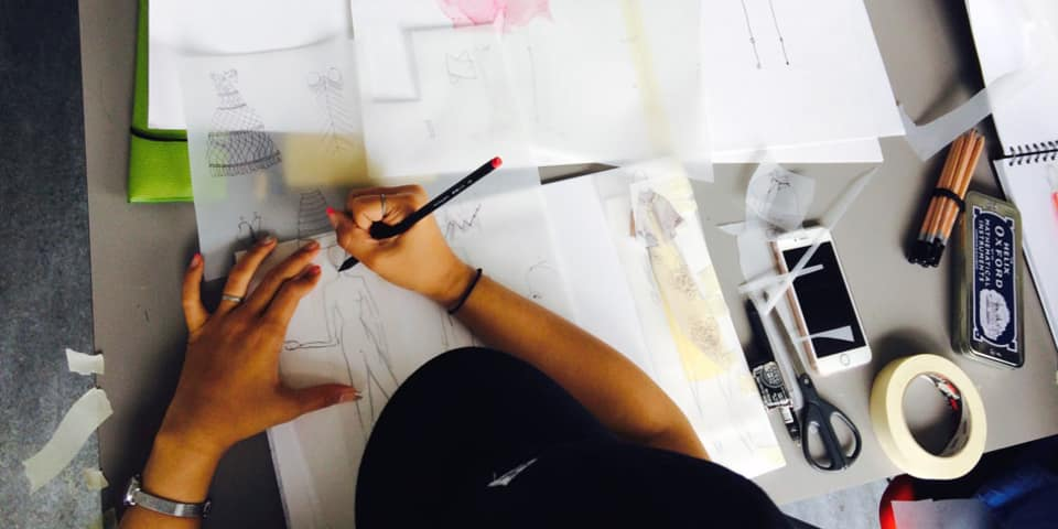 Fashion Design & Making: Student works on designs