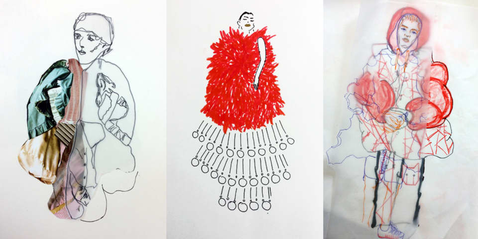 Fashion Design: Intensive - student sketchbook and development work.