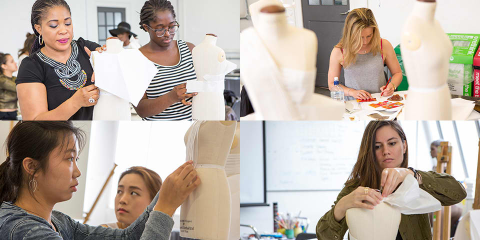 Fashion design students in class