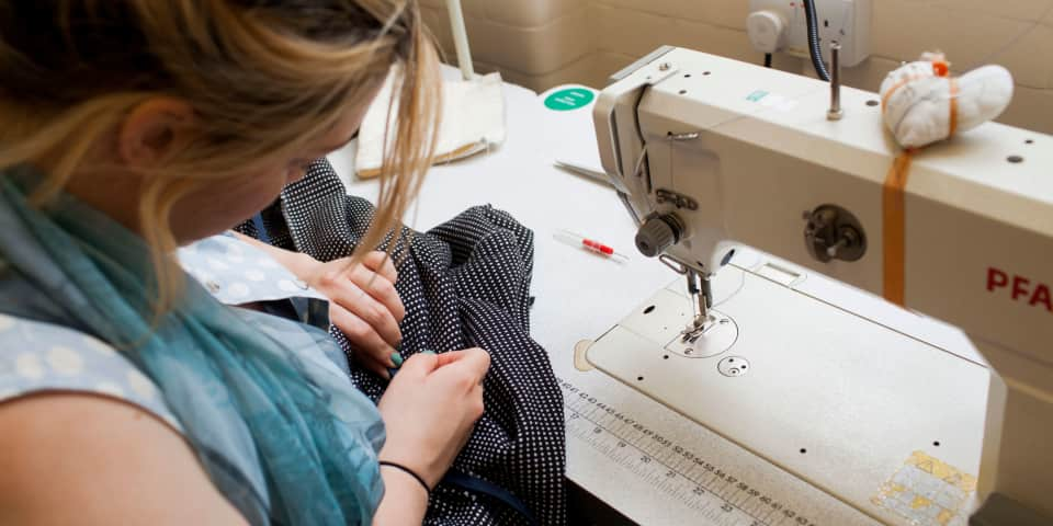 Fashion Design and Development student works on design