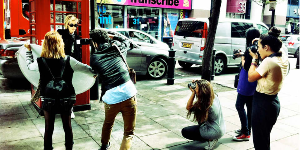 Street Fashion Photography: Model being photographed