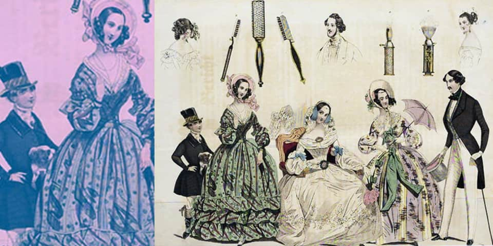 Fashion plate of costumes and accessories, 1839