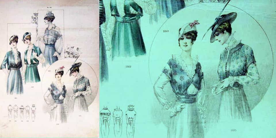 Women's fashion scene illustration, 1910