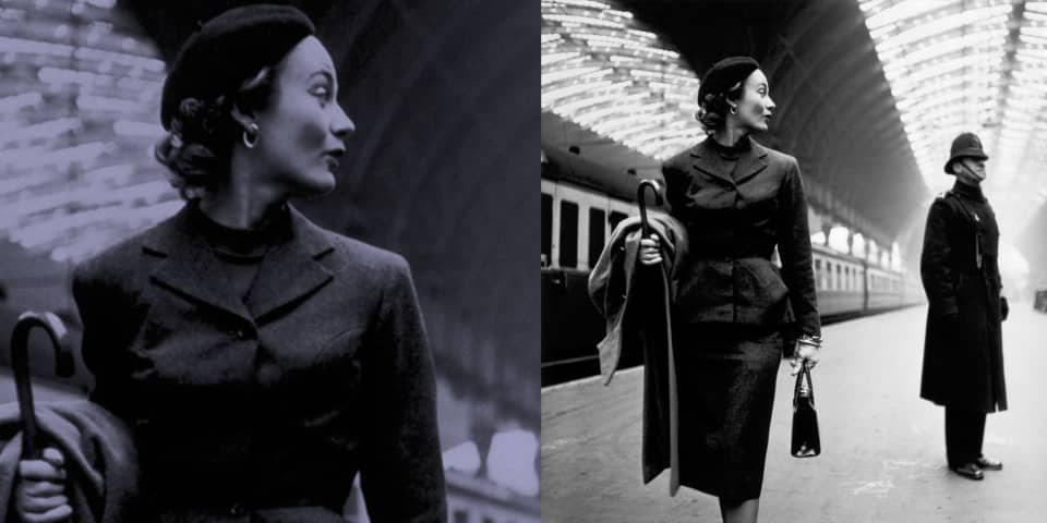 Fashion History: Lisa Fonssagrives at Paddington Station, London 1951, Photographed by Toni Frissell