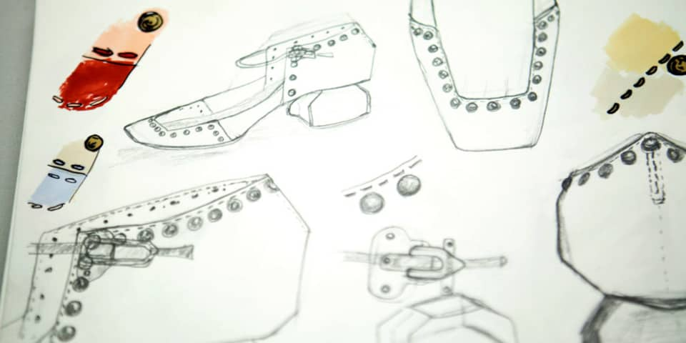 Footwear design student drawings.