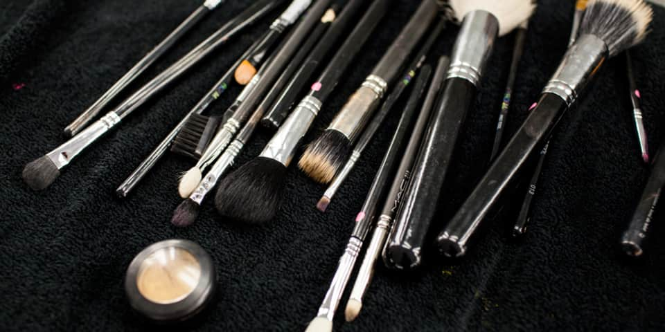 Brushes used on fashion and editorial makeup course
