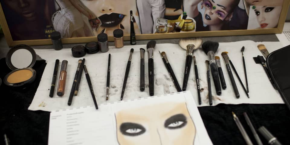 Student makeup and work on fashion and editorial makeup course