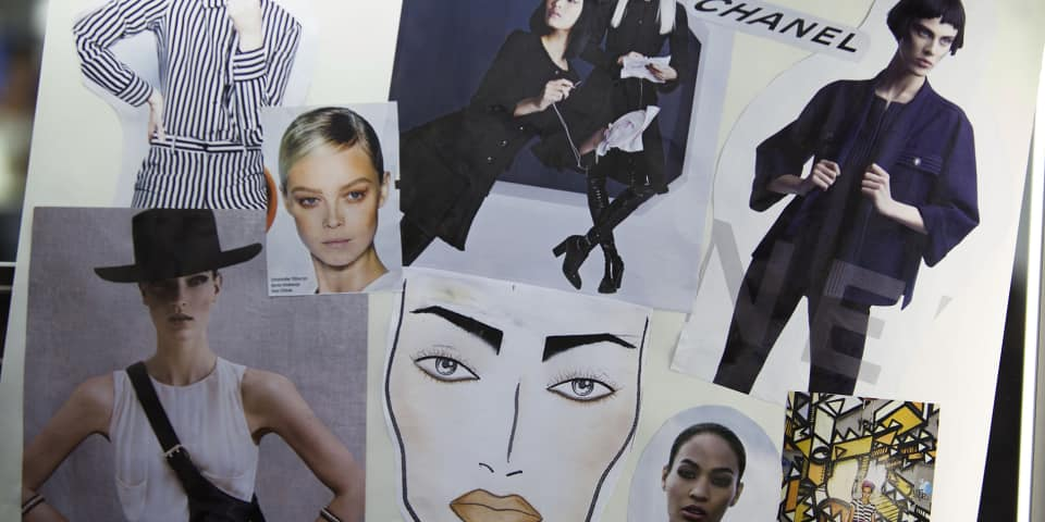Student research on fashion and editorial makeup course