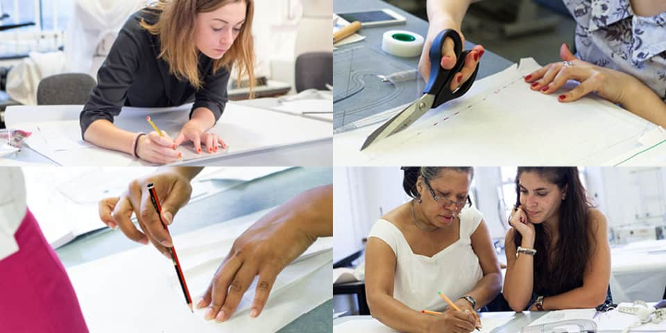 Students on Introduction to Womenswear Pattern Cutting Course