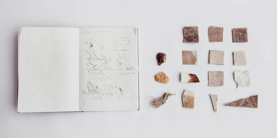 PhD Preparation Course at London College of Fashion. Image: Natural Selection Sketchbook & Samples (2013) Liz Ciokajlo (photo: Stephanie Potter Corwin). Original has been modified.