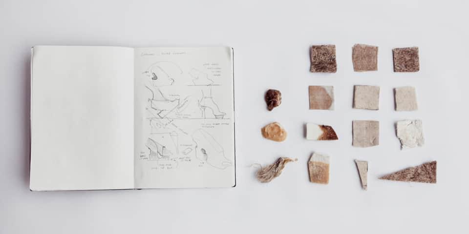 PhD Preparation Course at London College of Fashion. Image: Natural Selection Sketchbook & Samples (2013) Liz Ciokajlo (photo: Stephanie Potter Corwin). Original has been modified.