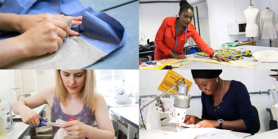 Mastering Sewing Skills short course. Students in sewing class.