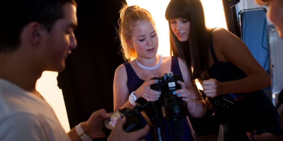 Fashion Film and Photography: Residential Summer School (14-16 Year Olds). Students work together on shoot.