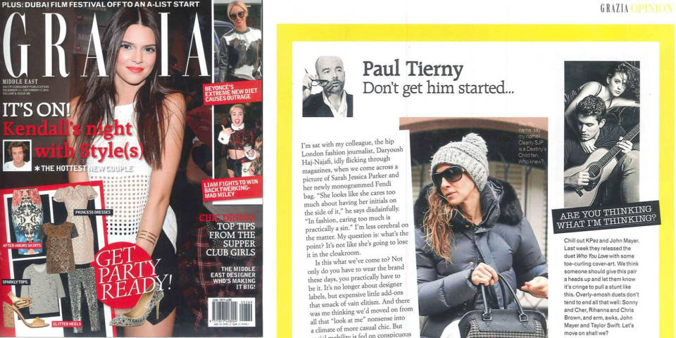 Paul Tierney's Grazia Middle East column