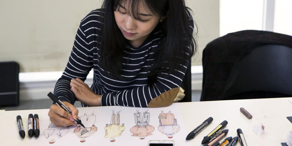 Student on fashion design LCF short course