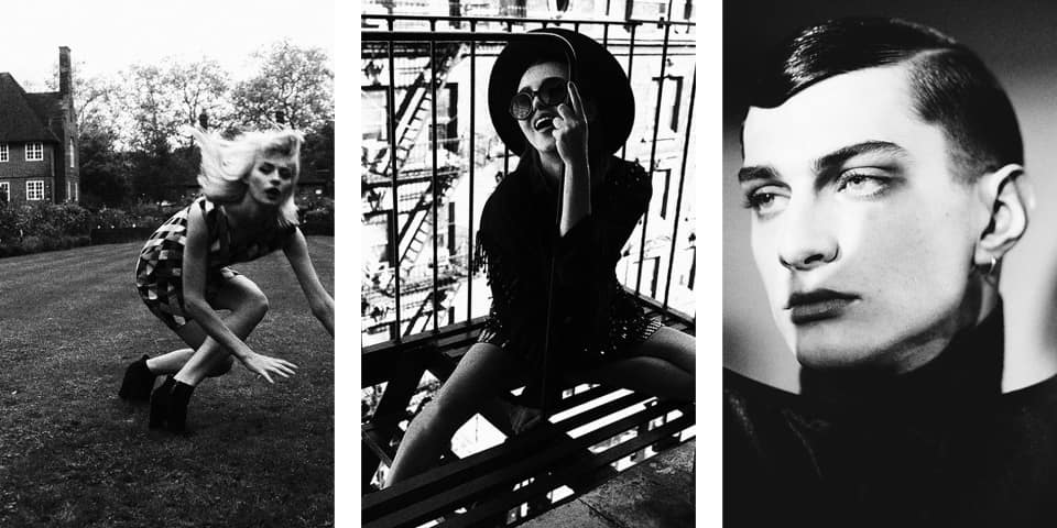 Black and white images of a model in a garden; on a building escape; and a male models face