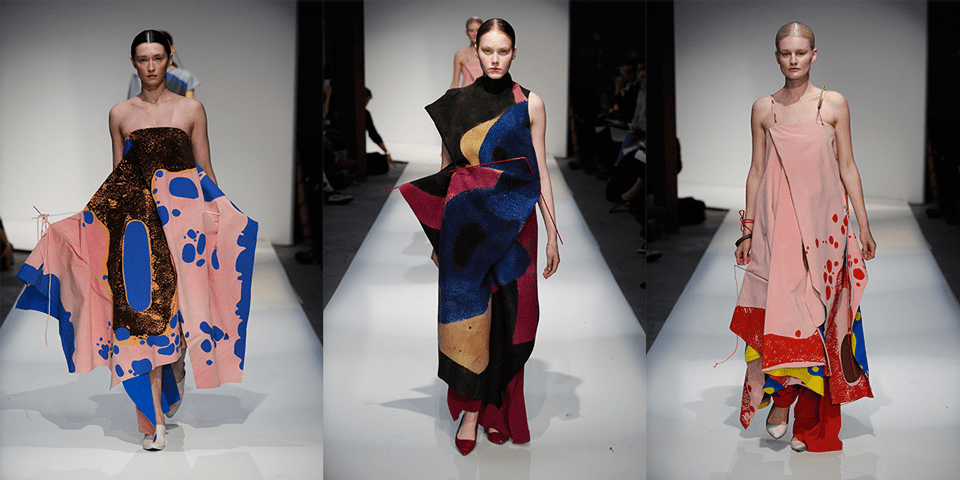Three images from catwalk of work by Camila Lopes