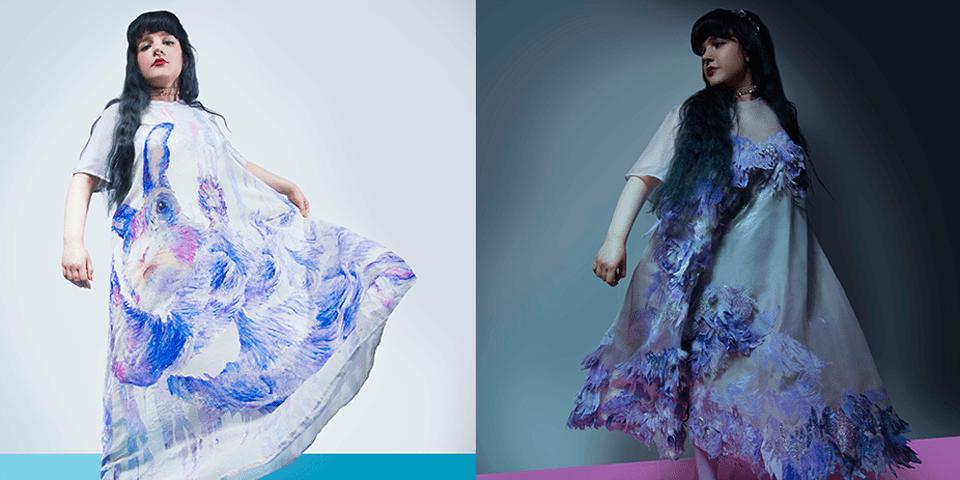 Two images of girl in dresses by Daniela Geraci