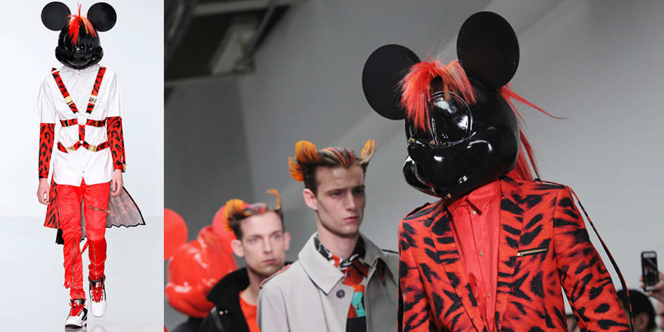 3d Effects Course; Mickey Mouse-style headpieces with mohican hairstyles by BA (Hons) 3D Effects for Performance and Fashion graduate Danny Hyland, worn by models in punk-style clothes by Katy Eary.