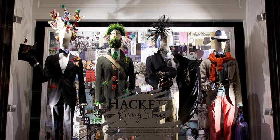 Hackett window display. Visual merchandising course and fashion branding course.