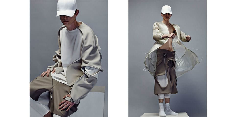 Cream sportswear by Jinwoong Bang, on male model