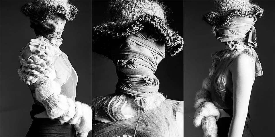 Three images of models in knitwear by Josephine Cowell in black and white.