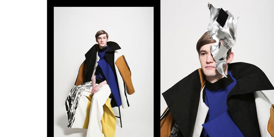 Two images of male models wearing primary colour clothes.