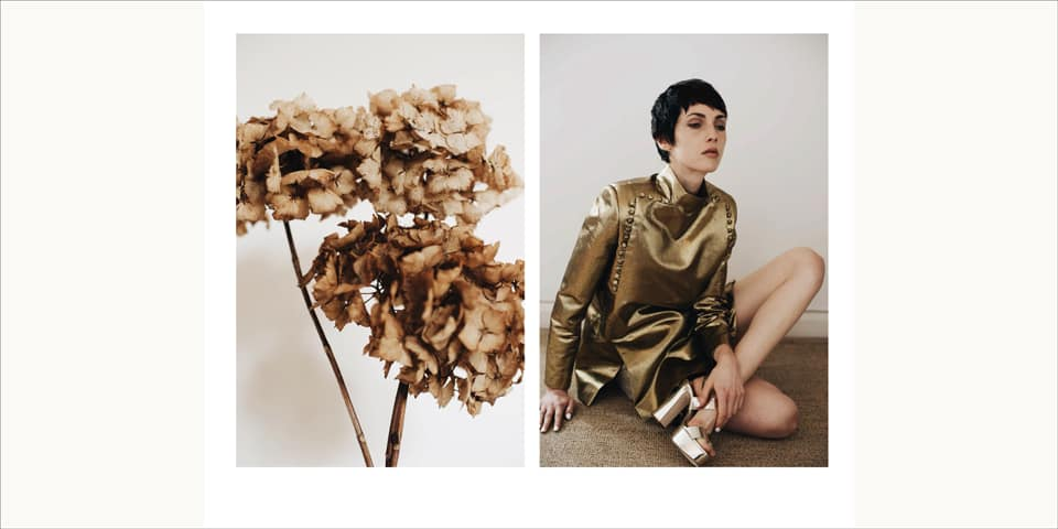 Model in gold suit and image of a bunch of dried flowers.