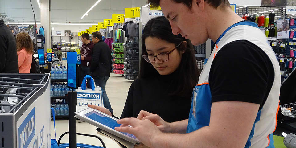 MA students in-store at Decathlon