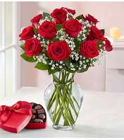 1 Dozen Red Roses with Heart Chocolates Box
