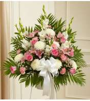 Pink and White Sympathy Standing Basket
