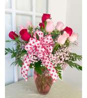 Dozen Rose Pink and Red with Bow