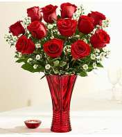 Rose Romance™ in a Red Vase