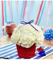 Red, White and Blooming Cupcake