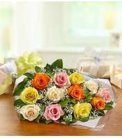 One Dozen Rose Presentation Bouquet - Mixed